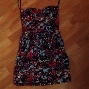 Motel Rocks floral sweetheart dress XS